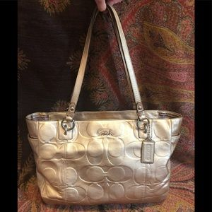 Coach Signature East West Embossed Leather Tote